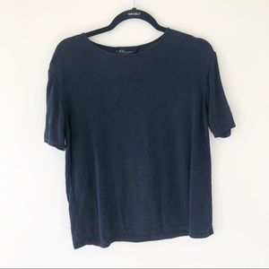 Escada Casual Short Sleeve Knit Casual Top Navy